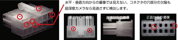 水平・垂直方向からの撮像では見えない、コネクタの穴部分の欠陥も、超深度カメラなら見逃さずに検出します。